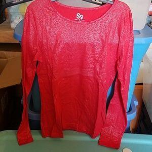 So Very Cherry Red Sparkle Long Sleeve Tee XL(16)